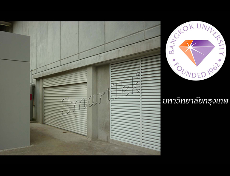 ผลงานประตูม้วน มหาวิทยาลัยกรุงเทพ